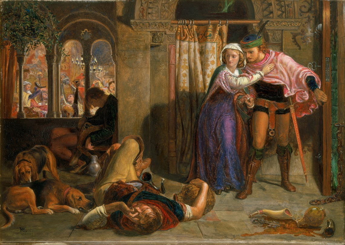 William_Holman_Hunt_-_The_flight_of_Madeline_and_Porphyro_during_the_drunkenness_attending_the_revelry_(The_Eve_of_St._Agnes)_-_Google_Art_Project